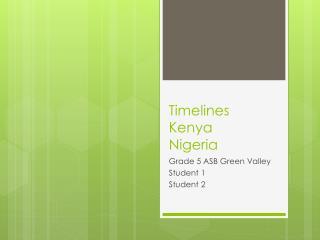 Timelines Kenya Nigeria