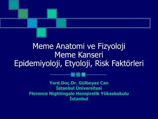 Meme Anatomi ve Fizyoloji Meme Kanseri  Epidemiyoloji, Etyoloji, Risk Fakt�rleri