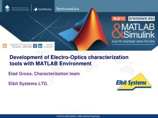 Development of Electro-Optics characterization tools with MATLAB Environment