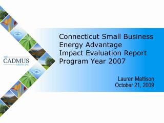 Connecticut Small Business Energy Advantage  Impact Evaluation Report Program Year 2007