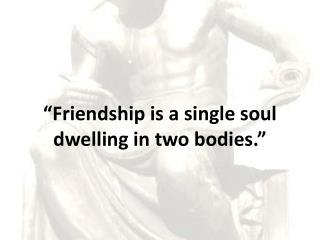 """ Friendship is a single soul dwelling in two bodies."""