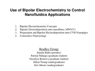 Use of Bipolar Electrochemistry to Control Nanofluidics Applications
