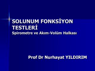 SOLUNUM FONKSİYON TESTLERİ                                   Spirometre ve Akım-Volüm Halkası