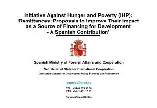 Initiative Against Hunger and Poverty (IHP):