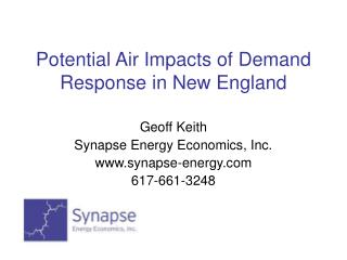 Potential Air Impacts of Demand Response in New England