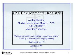 APX Environmental Registries