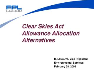 Clear Skies Act  Allowance Allocation Alternatives