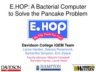 E.HOP: A Bacterial Computer to Solve the Pancake Problem