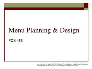 Menu Planning & Design
