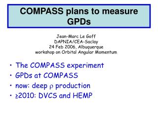 COMPASS plans to measure GPDs