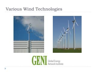 Various Wind Technologies