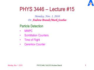 PHYS 3446 – Lecture #15