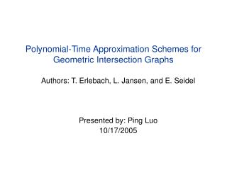 Polynomial-Time Approximation Schemes for Geometric Intersection Graphs
