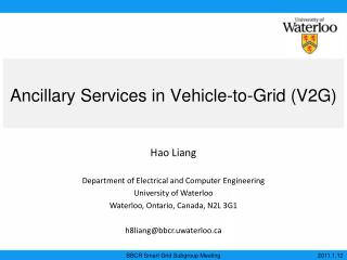 Ancillary Services in Vehicle-to-Grid (V2G)
