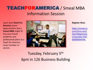 TEACH FOR AMERICA  /  Smeal  MBA Information Session