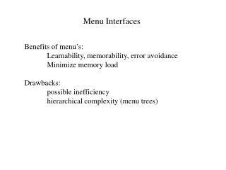 Menu Interfaces