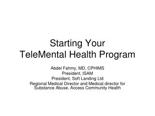 Starting Your   TeleMental Health Program