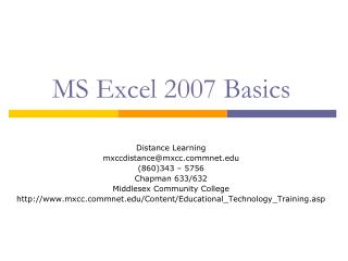 MS Excel 2007 Basics