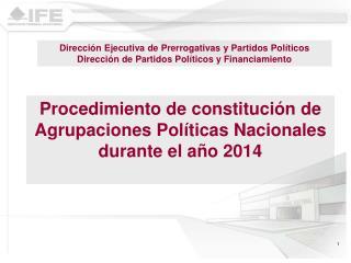 Procedimiento de constitución de Agrupaciones Políticas Nacionales durante el año 2014