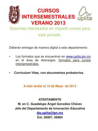CURSOS INTERSEMESTRALES VERANO 2013