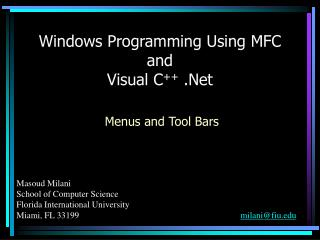 Windows Programming Using MFC and Visual C ++  .Net
