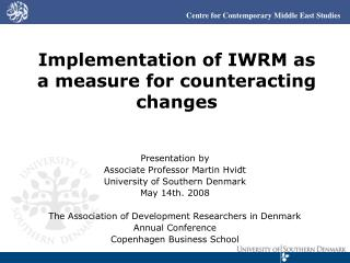 Implementation of IWRM as a measure for counteracting changes