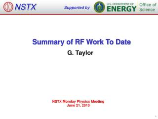 Summary of RF Work To Date