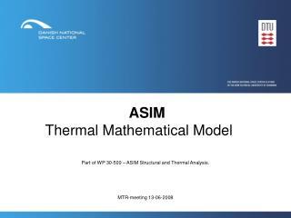 ASIM Thermal Mathematical Model