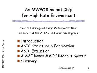 An MWPC Readout Chip  for High Rate Environment