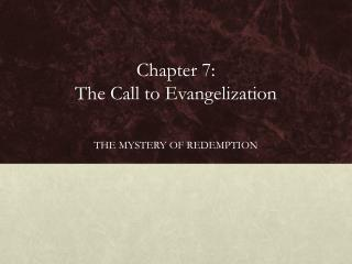 Chapter 7:  The Call to Evangelization