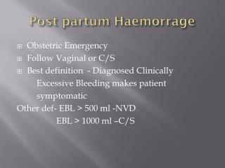 Post partum Haemorrage