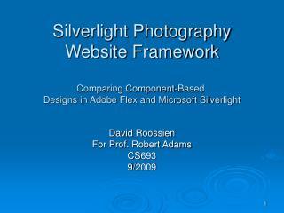 David Roossien For Prof. Robert Adams CS693 9/2009