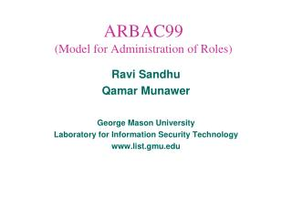 ARBAC99  (Model for Administration of Roles)