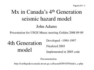 Mx in Canada's 4 th  Generation seismic hazard model