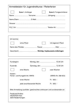 Anmeldetalon für Jugendreitkurse / Reiterferien Kurs 1 , Anfänger Kurs 2 , Fortgeschrittene