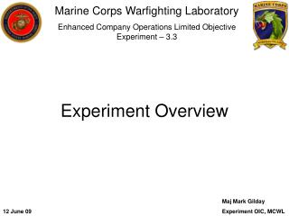Marine Corps Warfighting Laboratory Enhanced Company Operations Limited Objective Experiment – 3.3