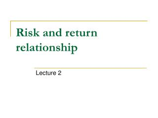 Risk and return relationship