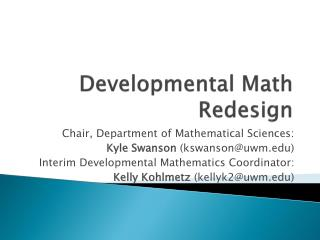 Developmental Math Redesign