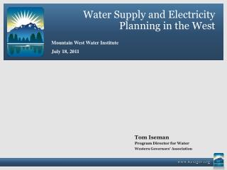 Water Supply and Electricity Planning in the West