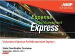 Volunteer Expense Reimbursement Express  State Coordinator Overview September 14  15, 2011