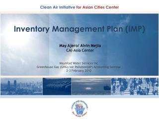 Inventory Management Plan (IMP)