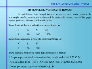 THE ROMAN NUMERATION SYTEM
