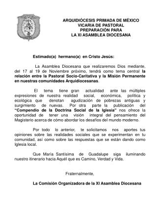 ARQUIDIÓCESIS PRIMADA DE MÉXICO VICARIA DE PASTORAL PREPARACIÓN PARA  LA XI ASAMBLEA DIOCESANA