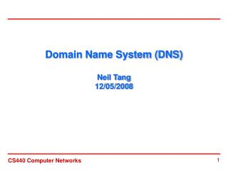 Domain Name System (DNS) Neil Tang 12/05/2008