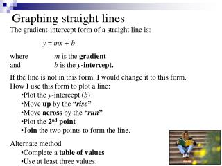 Graphing straight lines