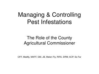 Managing & Controlling Pest Infestations