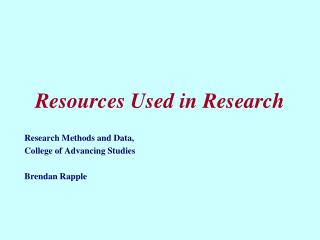 Resources Used in Research