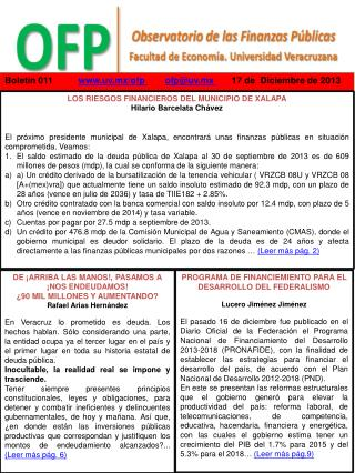 Boletín  011           uv.mx/of p ofp@uv.mx 17 de   Diciembre  de  2013
