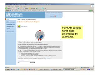 PEPFAR-specific home page determined by username.