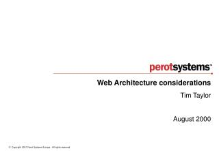 Web Architecture considerations